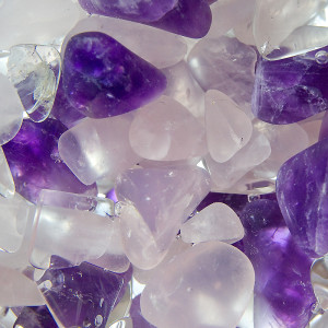 Purple, pink and clear gemstones.