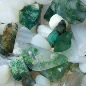 Green flecks clear, brown tone and clear gemstones.